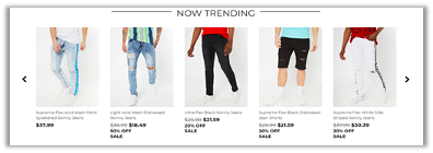 product feed of trending items
