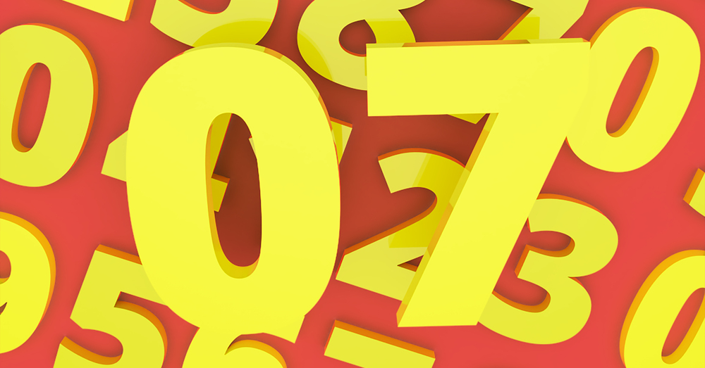Number Seven above red background with other numbers