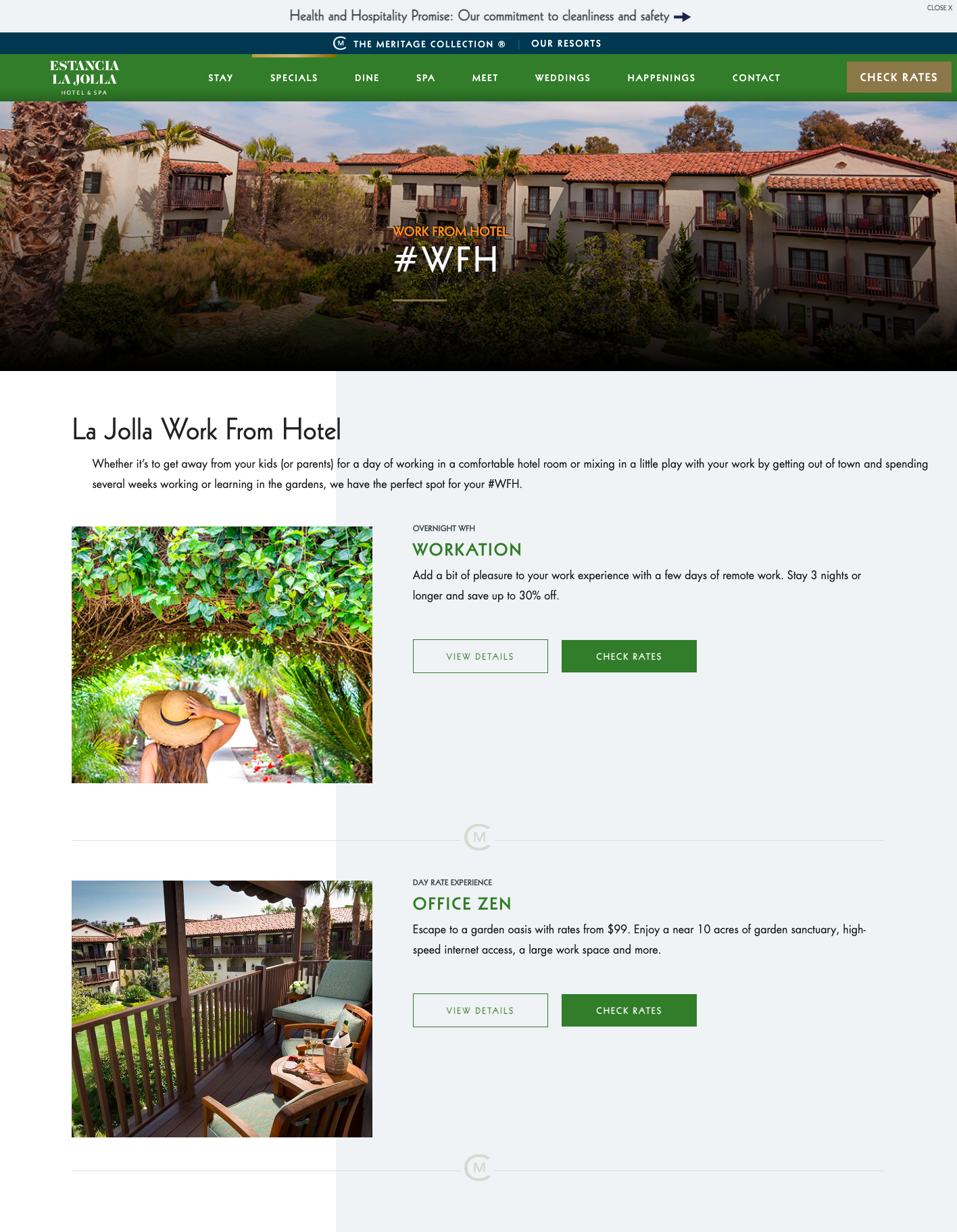 La Jolla Hotel Website promoting work from hotel options and safety measures