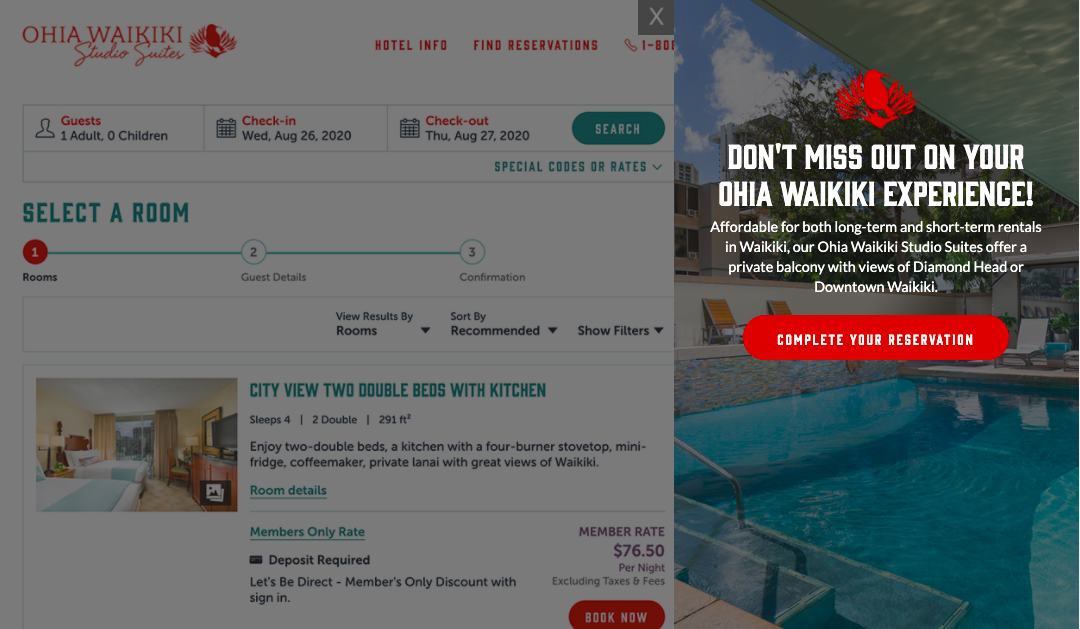 Ohia Waikiki hotel website uses pop up messaging to remind visitors to complete booking